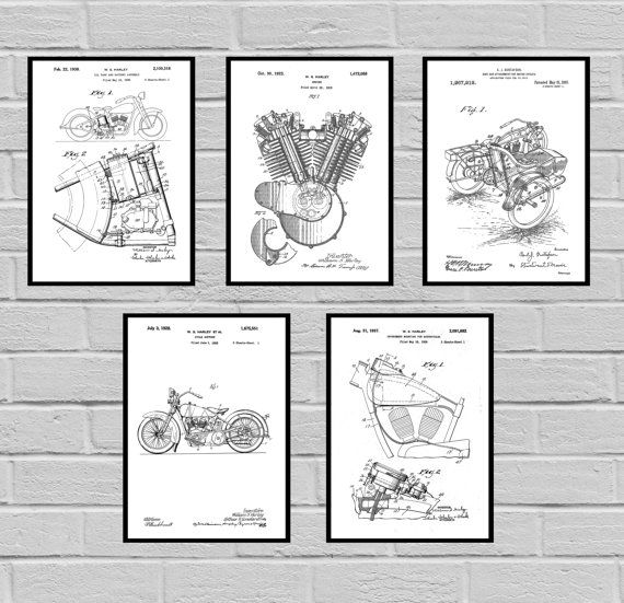 Harley Davidson Patent Set of 5 -motorcycle prints - Harley Poster - Harley Davidson Motorcycle - Harley Engine - Harley - Motorcycle, sp430 by STANLEYprintHOUSE  12.50 USD  This set comes with all 5 prints.  We use only top quality archival inks and heavyweight matte fine art papers and high end printers to produce a stunning quality print that's made to last.  Any of these posters will make a great affordable gift, or tie any room together.  Please ch ..  https://www.etsy.com/ca/..