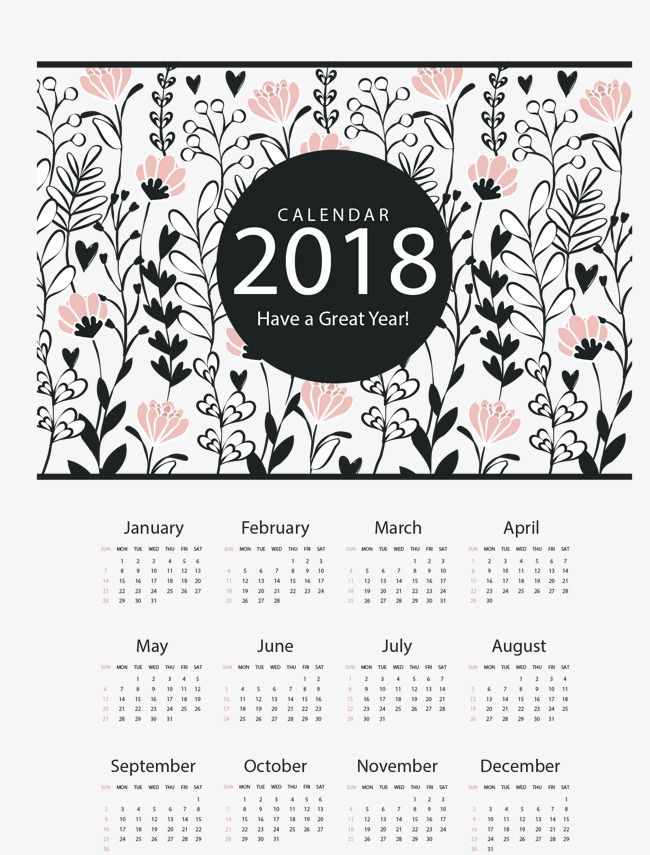 vector materialretro floral decorationdecorative desk calendardesk calendar template2018 calendar template 2018 free graphic resources daily