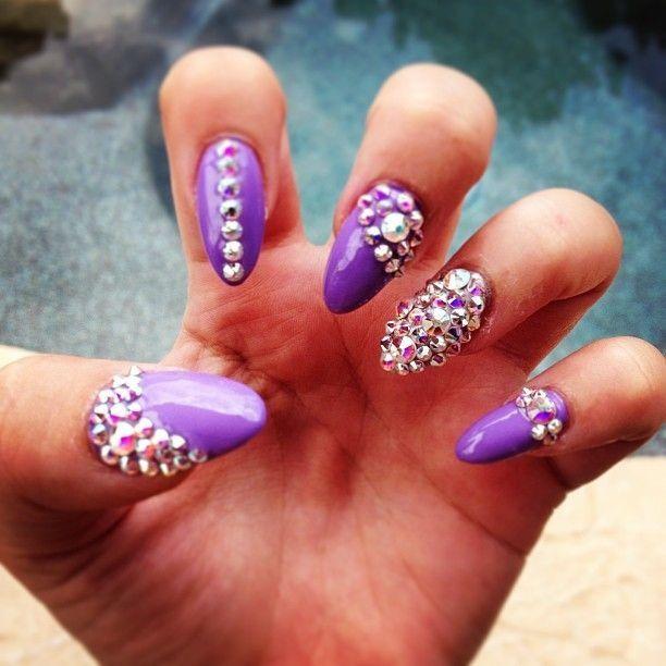 Stiletto nails with rhinestones purple nail polish ...