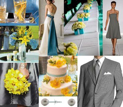 gray, yellow and turquoise wedding theme | The Wedding Decorator ...