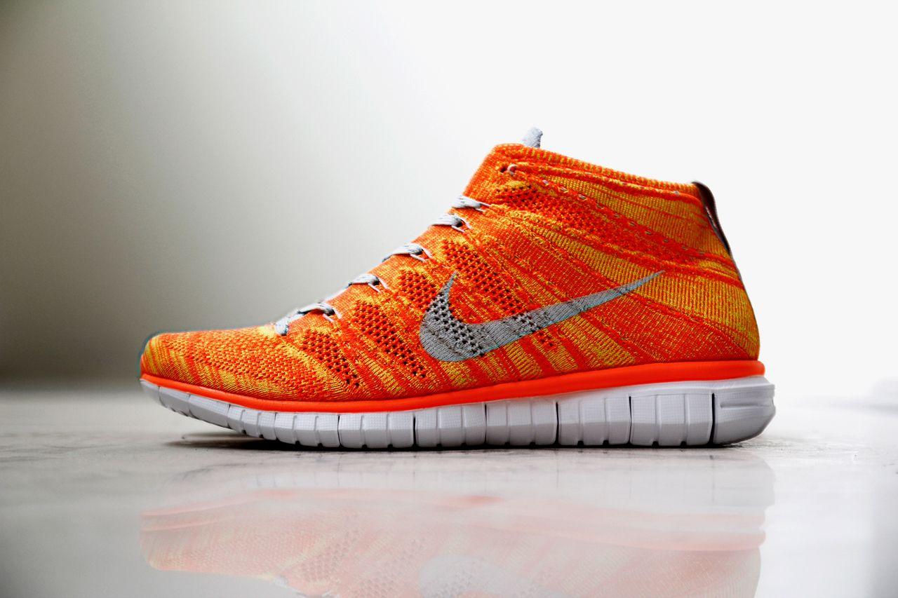 Nike Free Flyknit Chukka Orange/Volt Nike free flyknit, Footwear