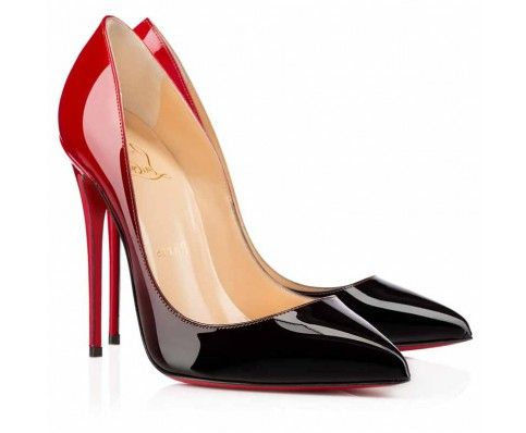 Christian Louboutin Pigalle Follies 120mm Patent Leather Degrade Pointed  Toe Pumps Black-Red