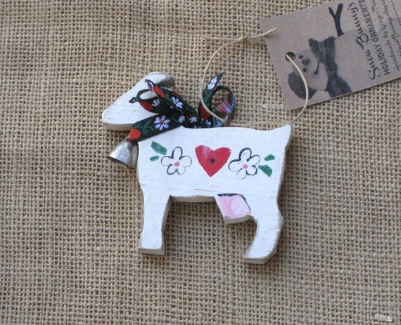 Goat Ornament, Wooden Farm Animal Ornament for the Christmas Tree or
