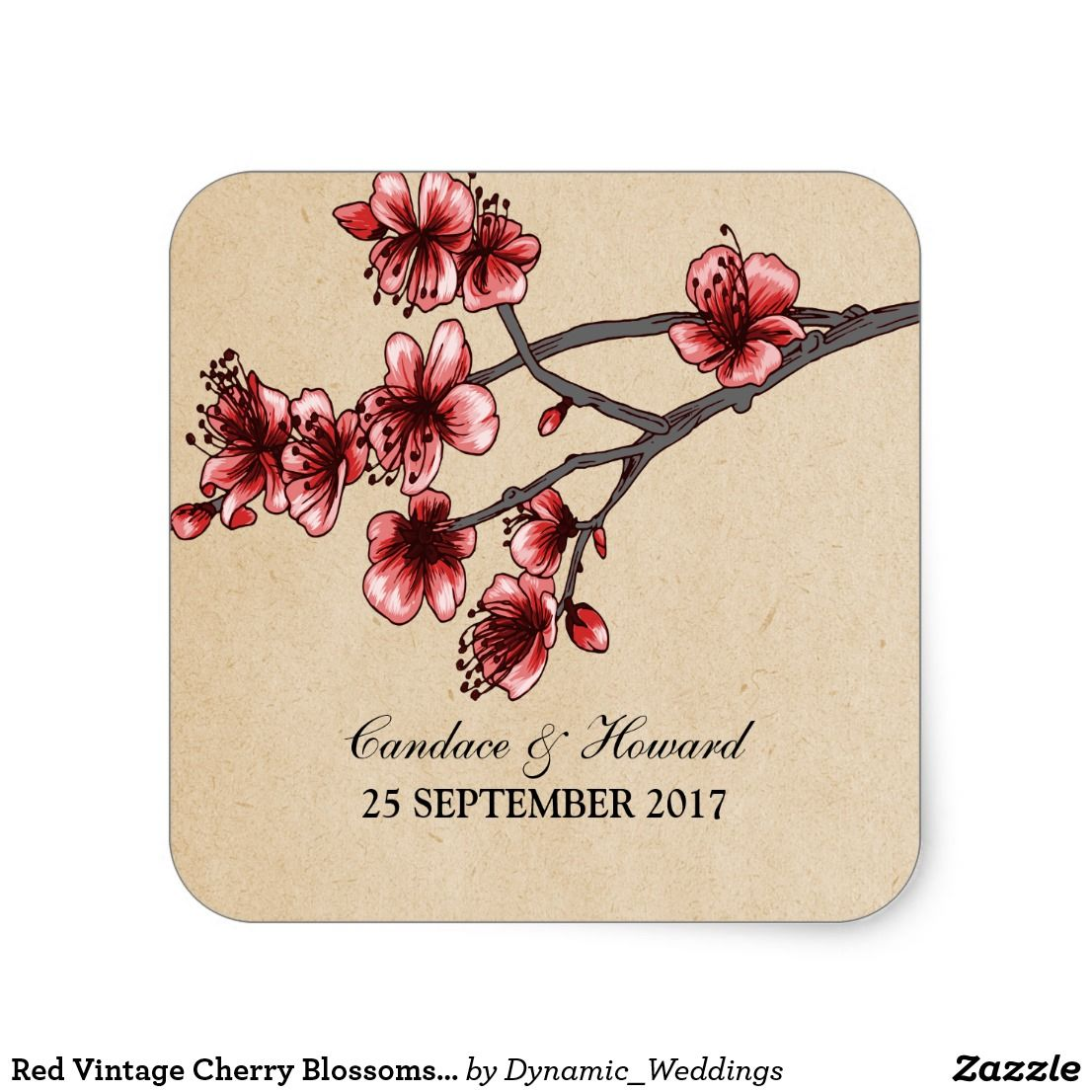 Red Vintage Cherry Blossoms Wedding Stickers | Wedding : Floral ...