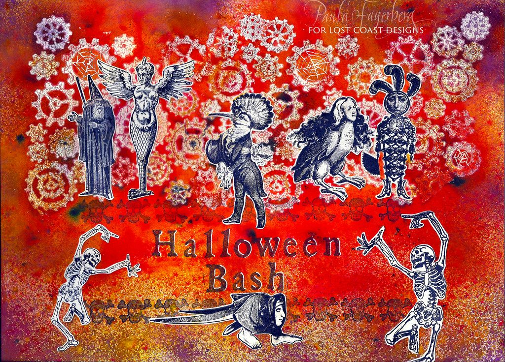 Iron-off embossing powder resist tutorial for this piece here! museofmixedmedia.blogspot.com/2016/10/halloween-bash-party-invitation-iron.html