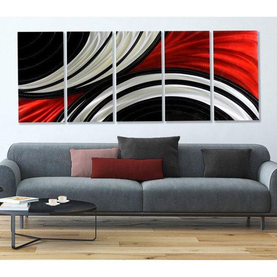 Huge Multi Panel Metal Wall Art In Red, Black & Silver, Modern Metal ...
