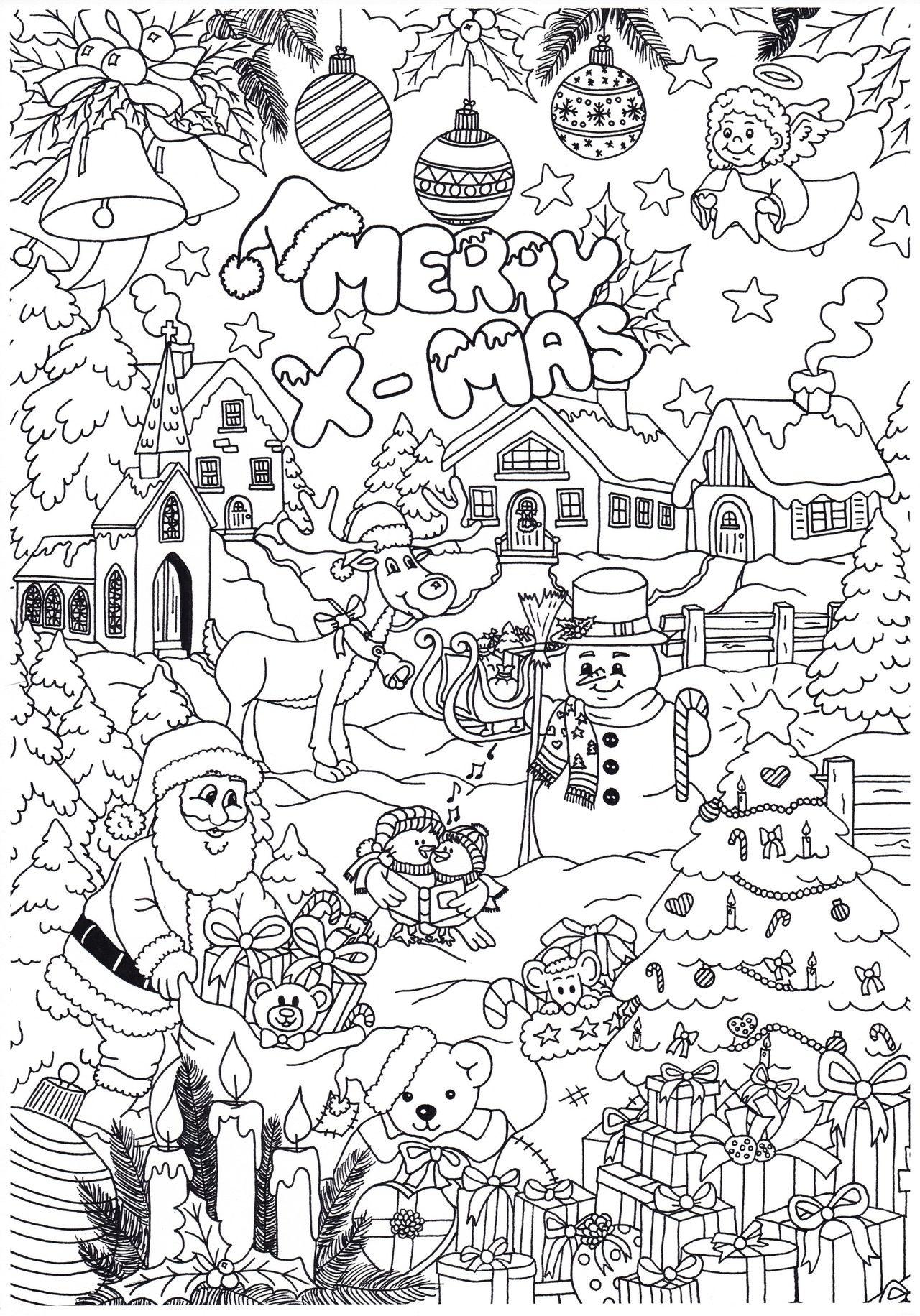 leuke kerst kleurplaat met afbeeldingen kerstmis