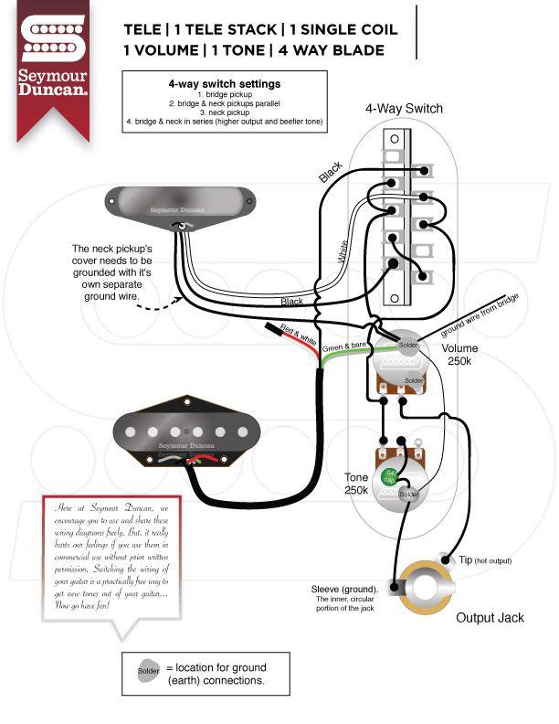 wiring diagrams - seymour duncan | tele split neck + 4-way blade, Wiring diagram