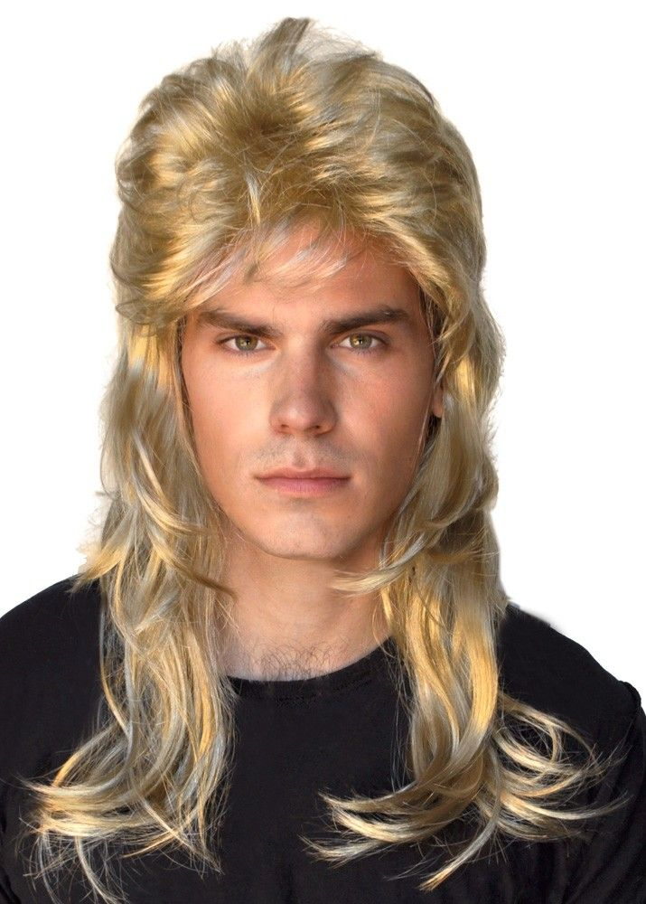 Fun novelty 80 s blonde mullet costume wig for men. Fantastic bogan dress  up wig to finish off your fancy dress party costume for your next 1980 s  themed ... 59f75bab815b
