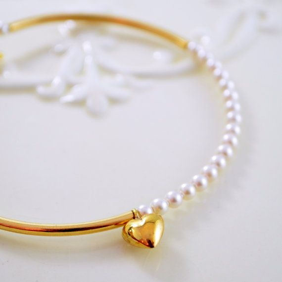 Pearl Bangle Gold Plated Bracelet Creamrose by LivEveryDay on Etsy, $27.00