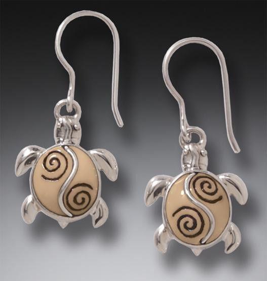 """Ancient Walrus Tuskk """"Turtle"""" Earrings"""