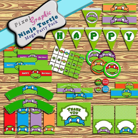 Ninja Turtle Printable Party Kit Downloadable Water Bottle