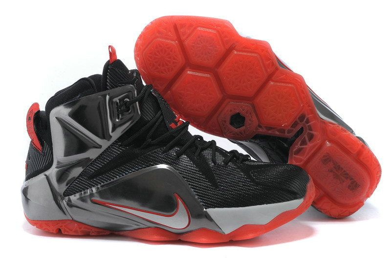 84be339bc21aa LeBron 12 Court Vision Black Bright Crimson White Silver 707781 016 ...