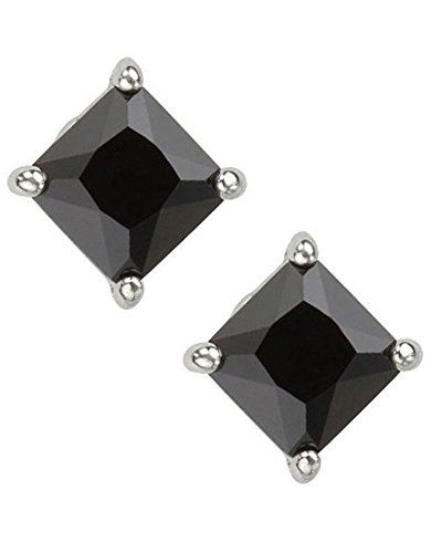 Ijewelry2 Black Princess Cut Square Diamond Cz Basket Set Silver Men Uni Stud Earrings 4mm 0 40ct