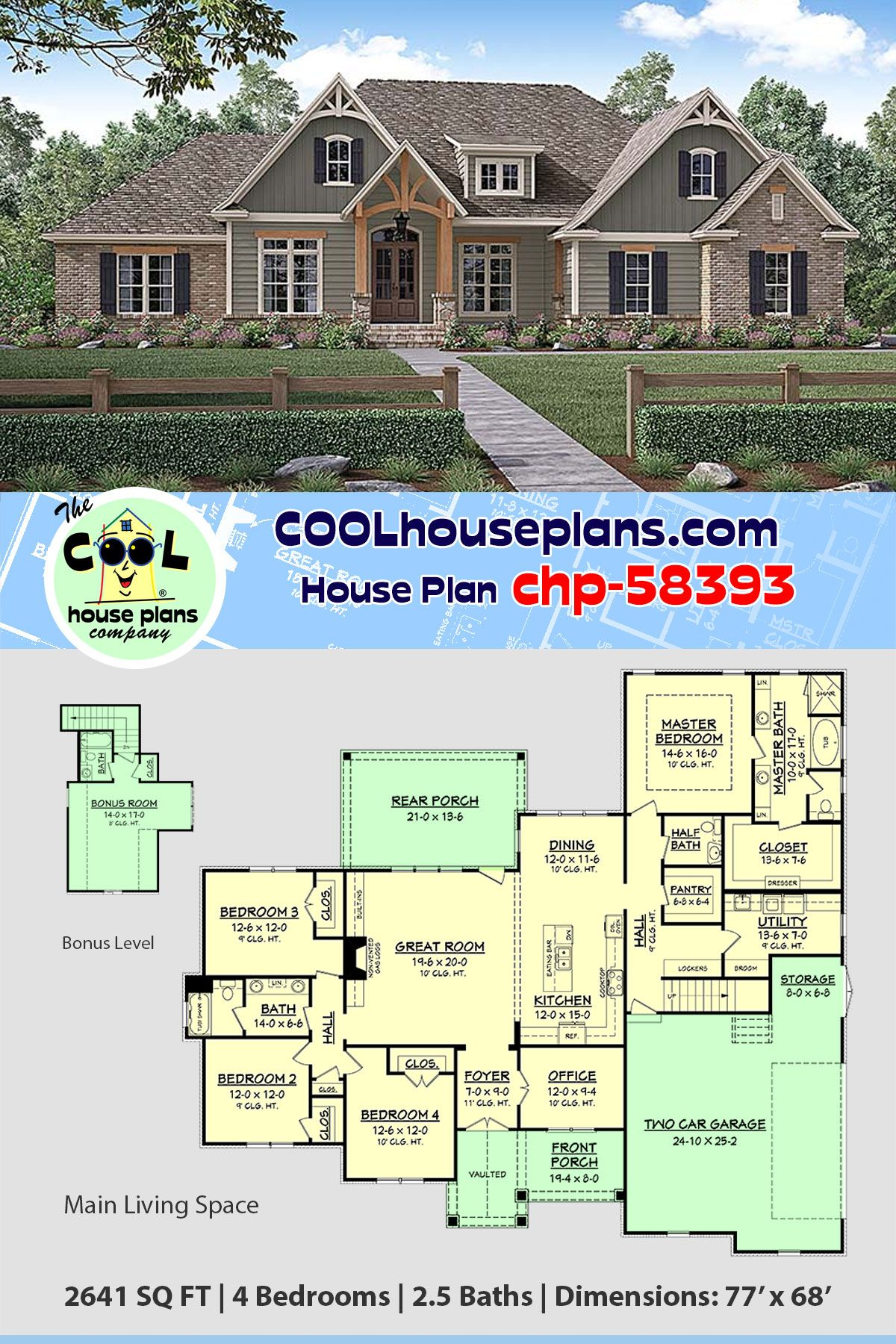 Traditional Style House Plan 56924 With 4 Bed 3 Bath 2 Car Garage Craftsman House Plans Country House Plans Craftsman Style House Plans