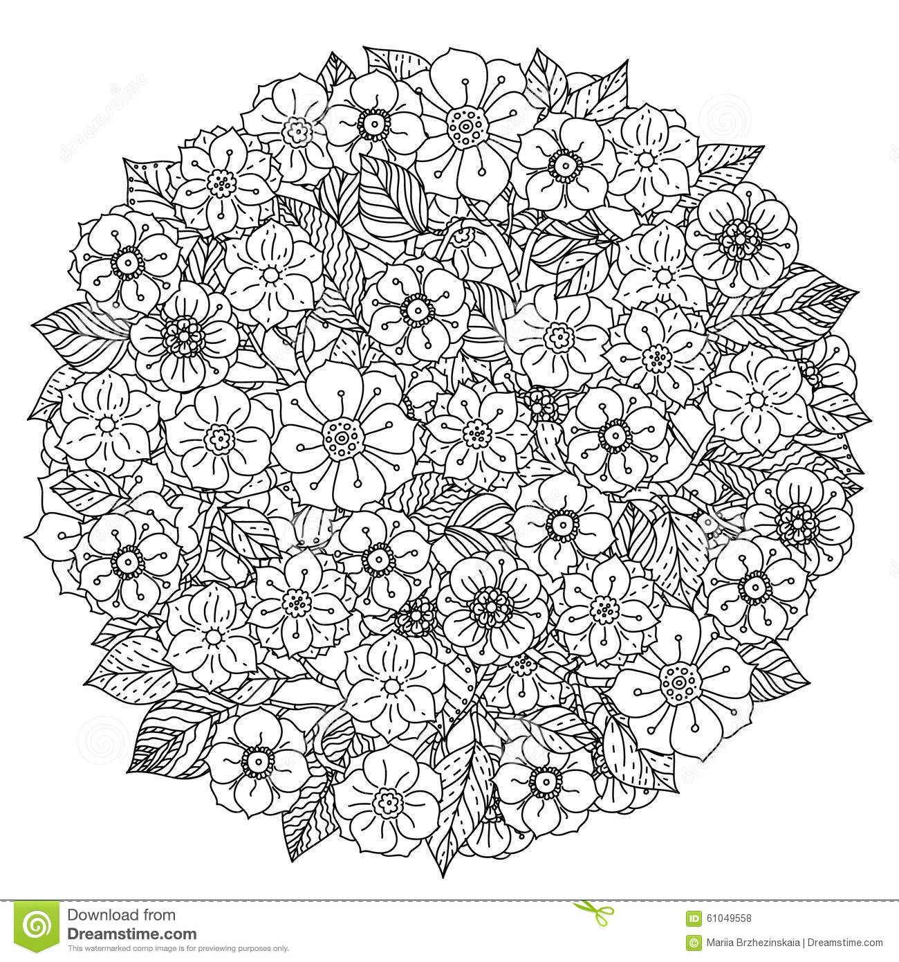 Circle Orient Floral Black And White Stock Vector Image 61049558 Flower Coloring Pages Heart Coloring Pages Coloring Pages