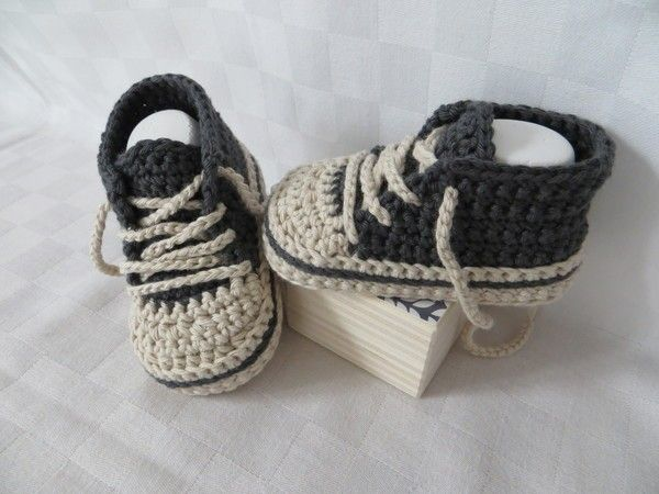 Häkelanleitung, Baby-Turnschuhe \'Chucks\' (#2) | makrame | Pinterest ...