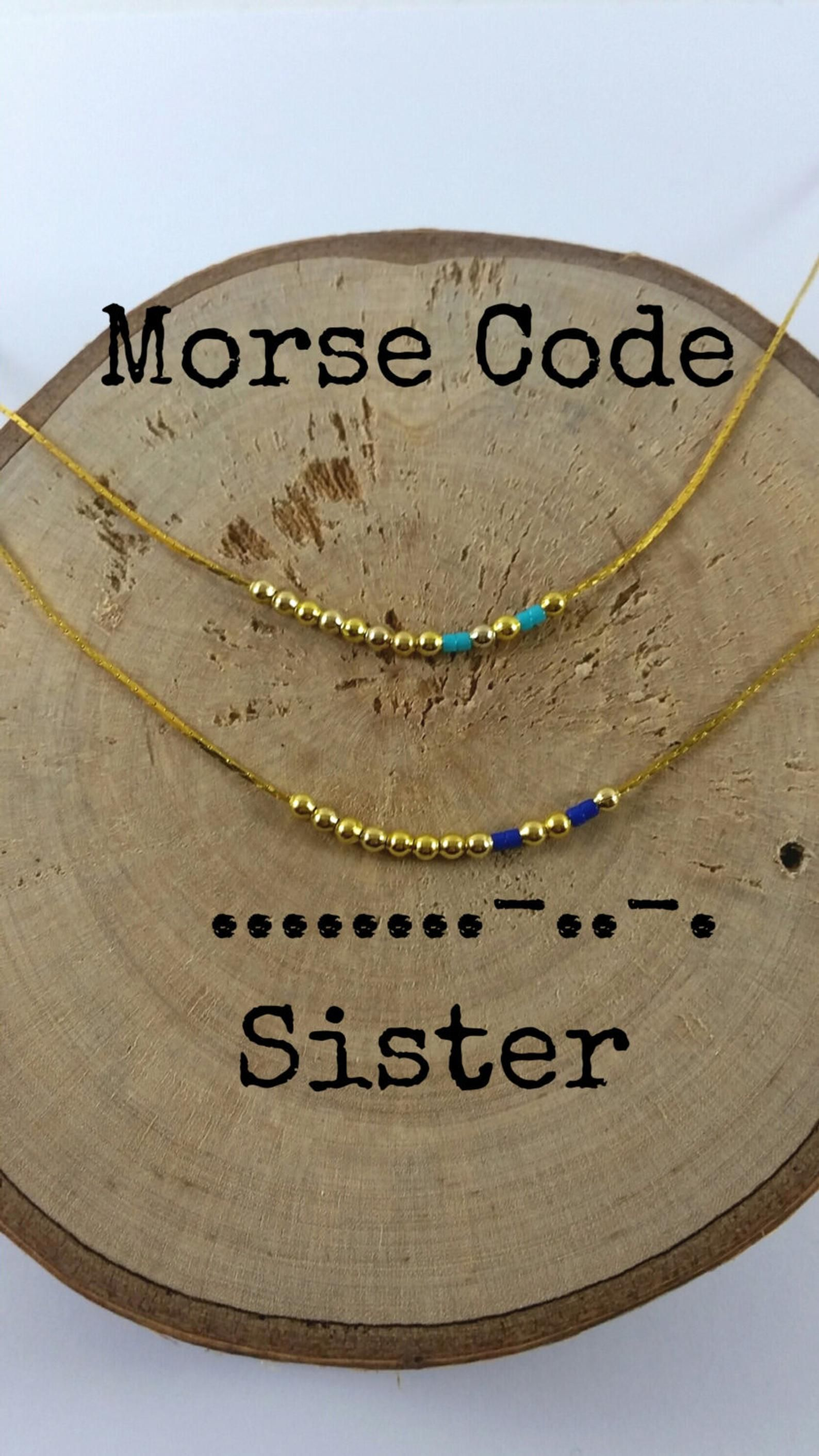 Set Of 2 Sister Morse Code Necklaces Secret Message