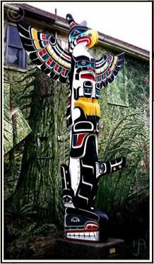 Thunderbird Orca Totem Pole Northwest Coast Native American Indian Art Poles