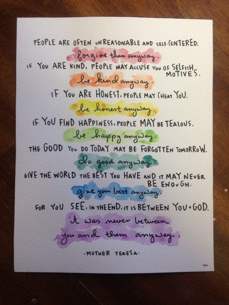 11x14 print of mother teresa do it anyway poem   Etsy