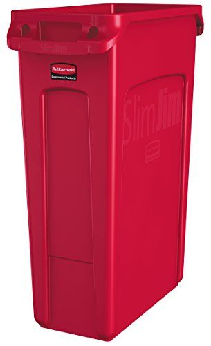 rubbermaid commercial vented slim jim trash can waste receptacle 23 gallon red plastic