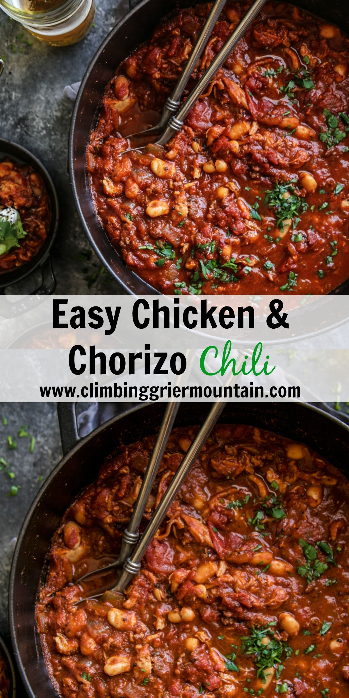 Easy Chicken Chorizo Chili Is An Easy And Flavorful One Pot Dish Perfect For Feeding Large Crowds During The Wi Chicken Chorizo Chicken Recipes Chorizo Chili