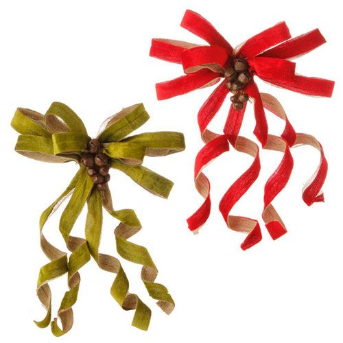 clip on pre made bow red and green burlap (With images ...