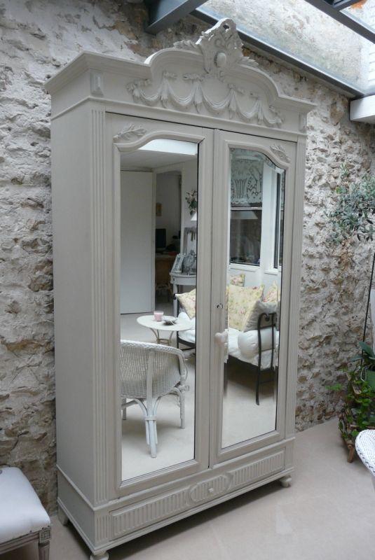 Dove Gray Home Decor ♅ Grey Armoire W/ Mirrored Doors