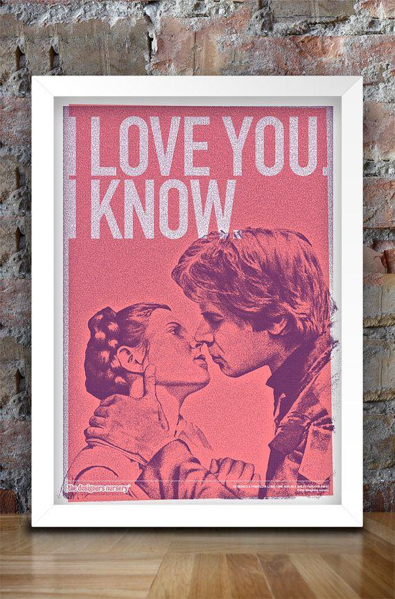 Star Wars, Inspired, Print, Han and Leia Kiss, Star Wars Print, Star ...