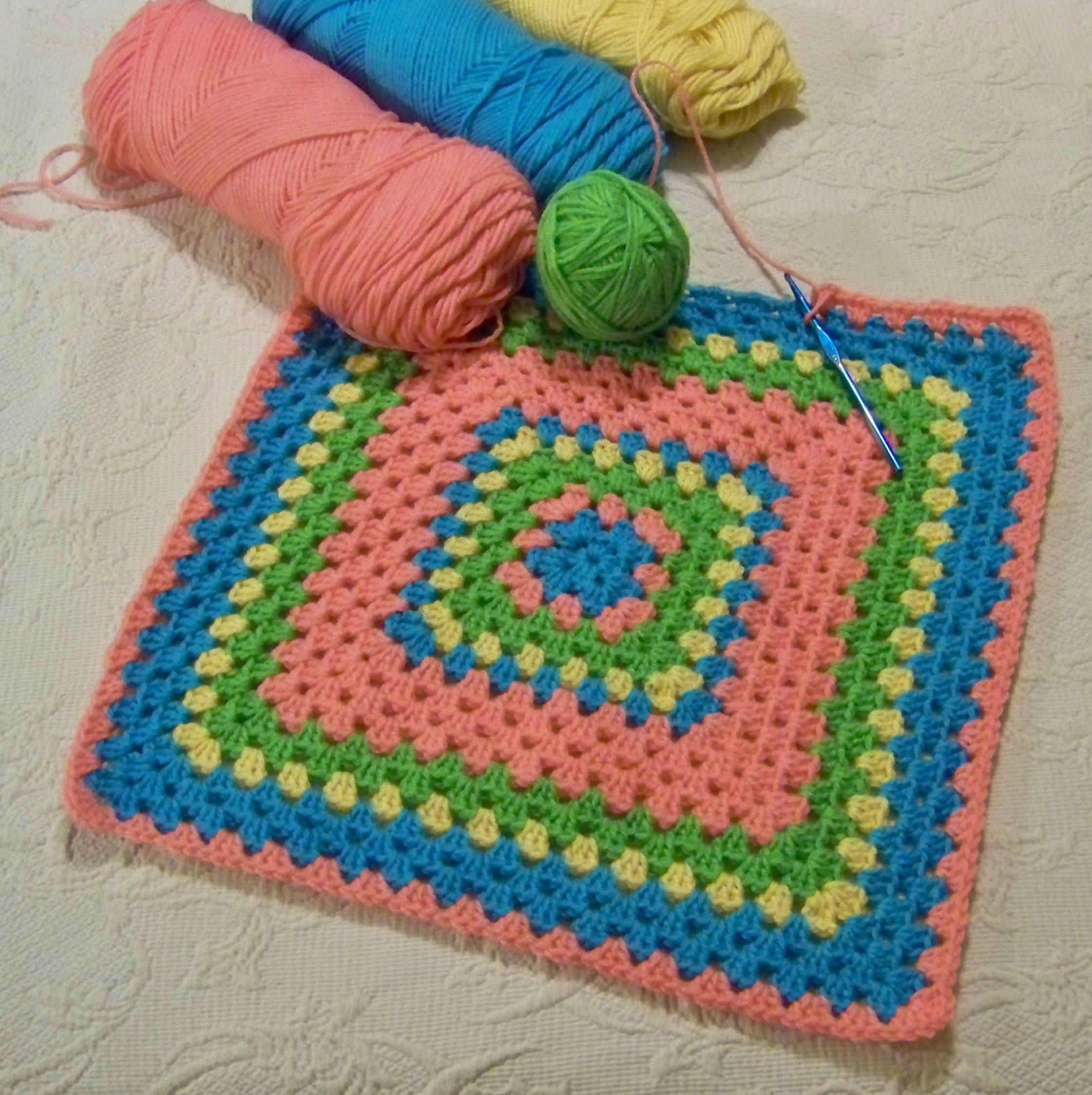 Cheerful crocheted afghan I love making for Project Linus...it's my favorite of all.