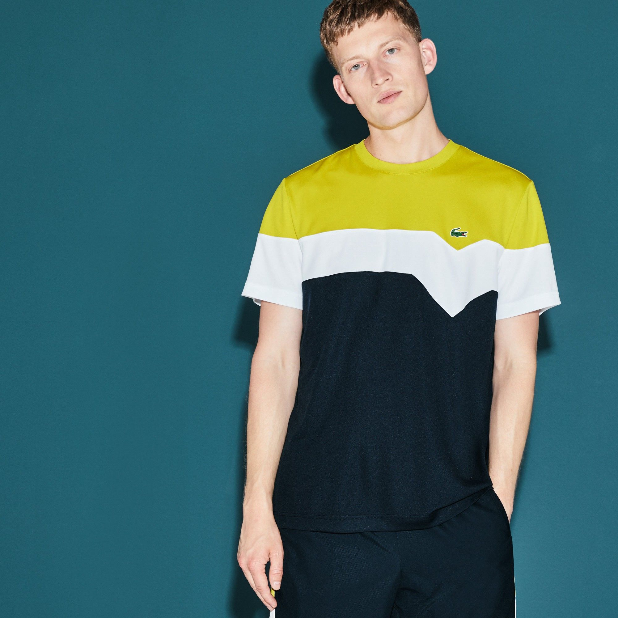81928991 LACOSTE Men's SPORT Tennis Colorblock Technical Piqué T-shirt - soda yellow/ white-navy bl. #lacoste #cloth #