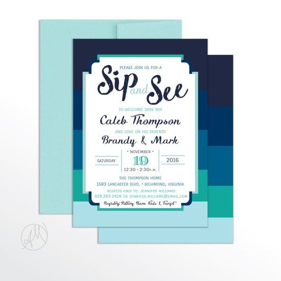 Boy Sip And See Invitation Modern Baby Shower N Invitations Blue Striped Printable Par