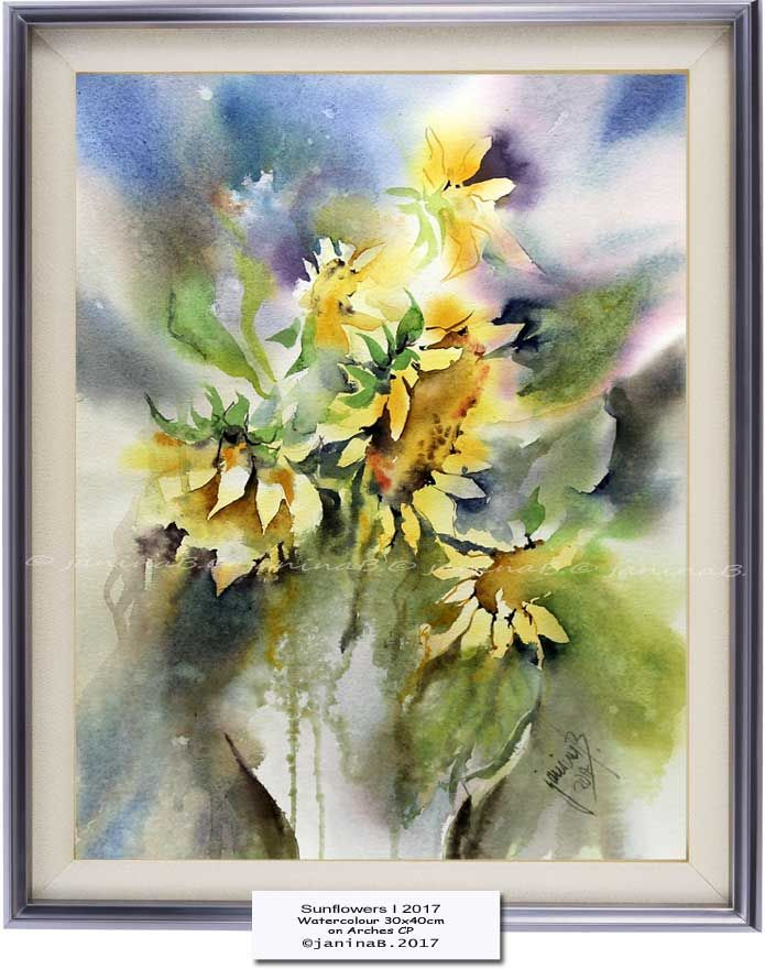 Sunflowers I 2017 / Watercolour 30x40cm on Arches CP © janinaB .2017