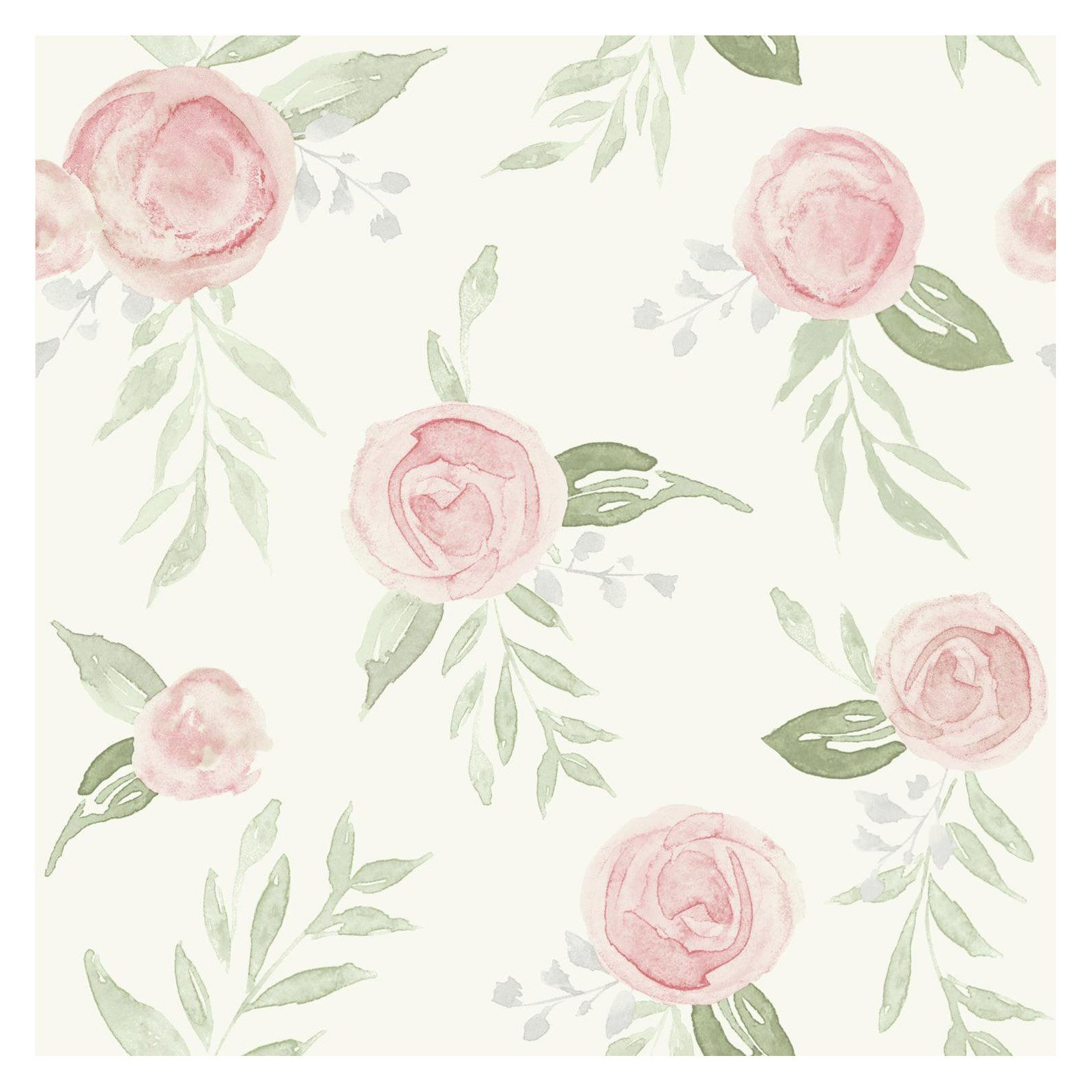 Magnolia Home By Joanna Gaines Watercolor Roses Peel And Stick Wallpaper Coral Wallpaper Watercolor Rose Rose Wallpaper