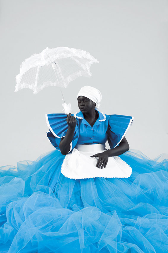 """Artist Mary Sibande explores the intersections of race, gender, power and sexuality in her native South Africa with her many-layered sculptures. She actually """"cast her own body in fibreglass and silicone to create 'Sophie,' the woman shown above. She then painted her a 'flat black,' so that she stands out like a dark and static shadow…"""
