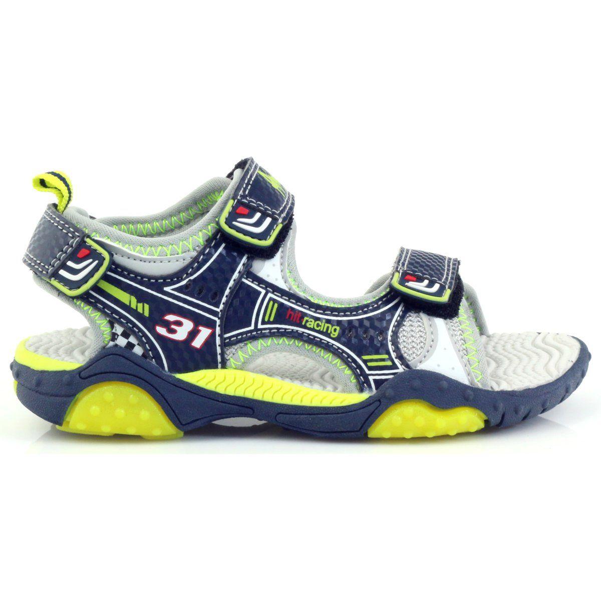 American Club Buty Dzieciece Sandalki Swiecace American 1702 Granatowe Zielone Szare Kids Sandals Shoes Saucony Sneaker