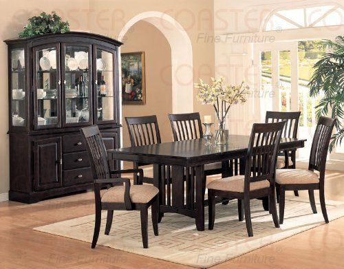 Formal Dining Table 8 Piece Set Dark Brown Hutch Buffet - Click pics