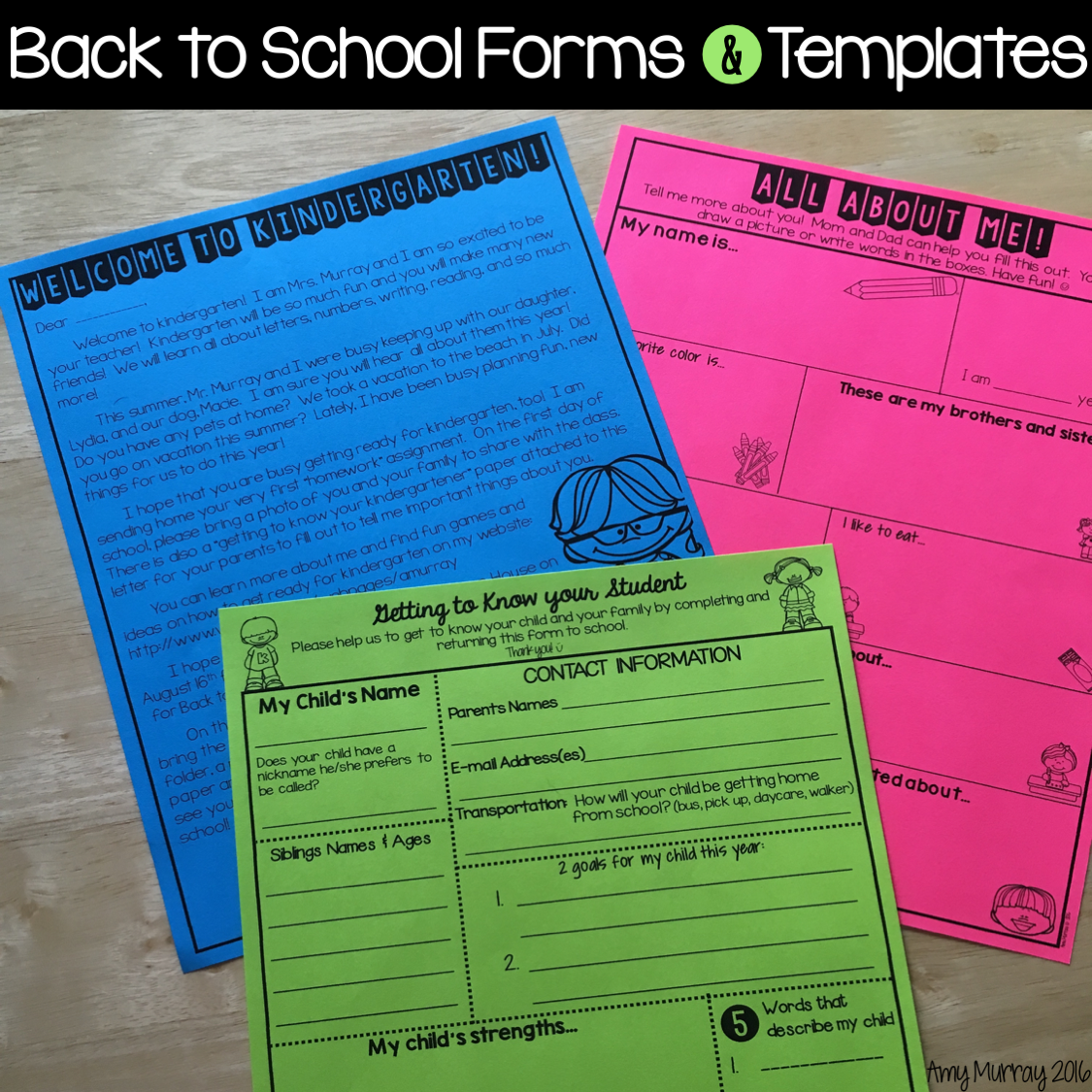 Back to School Forms & Editable Meet the Teacher Letter Template ...