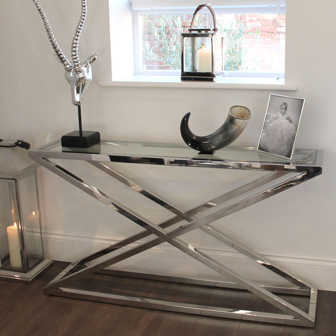Brooklyn chunky chrome glass console table console tables brooklyn chunky chrome glass console table geotapseo Image collections
