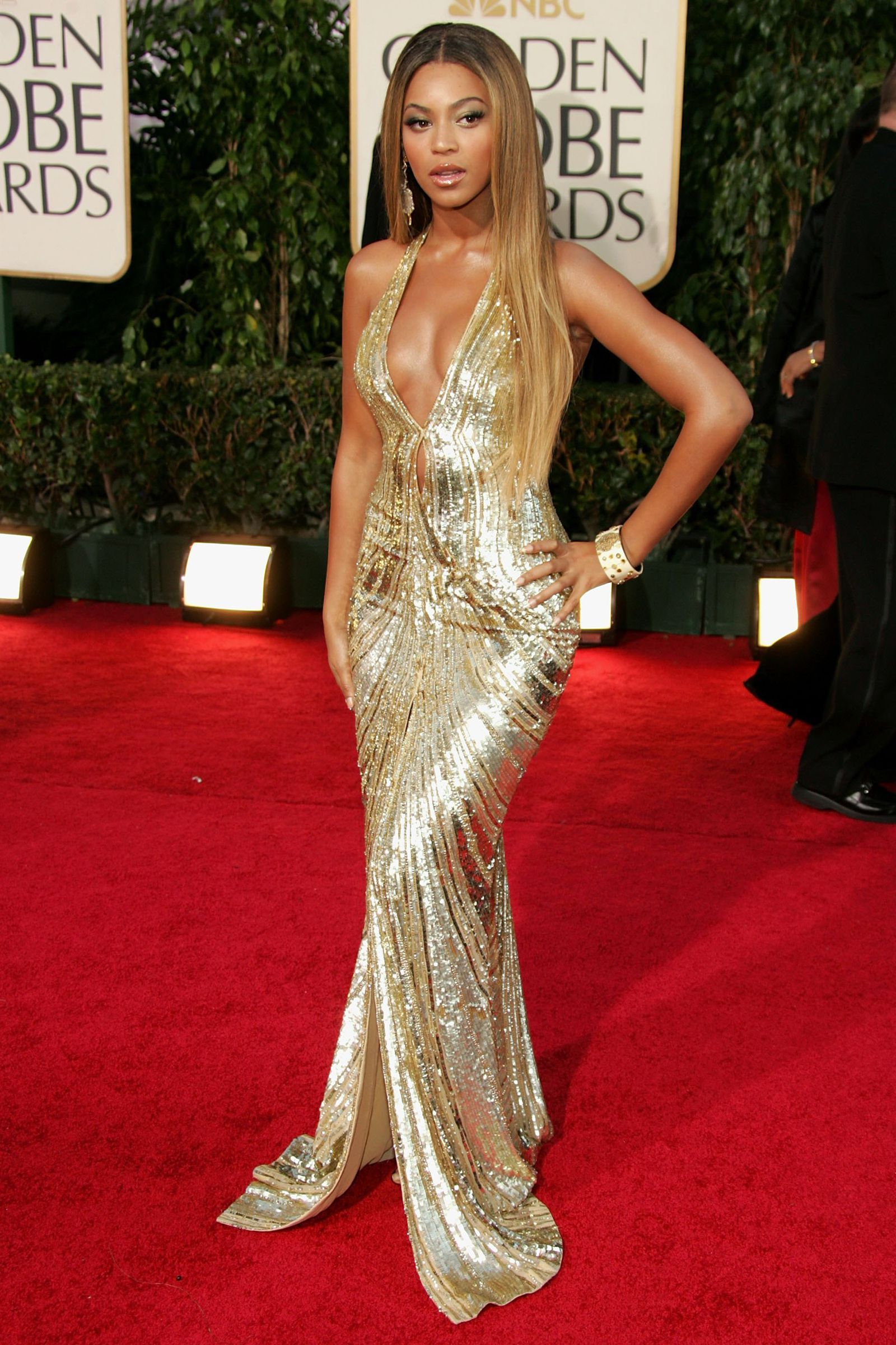 Image result for beyonce in a gold dress