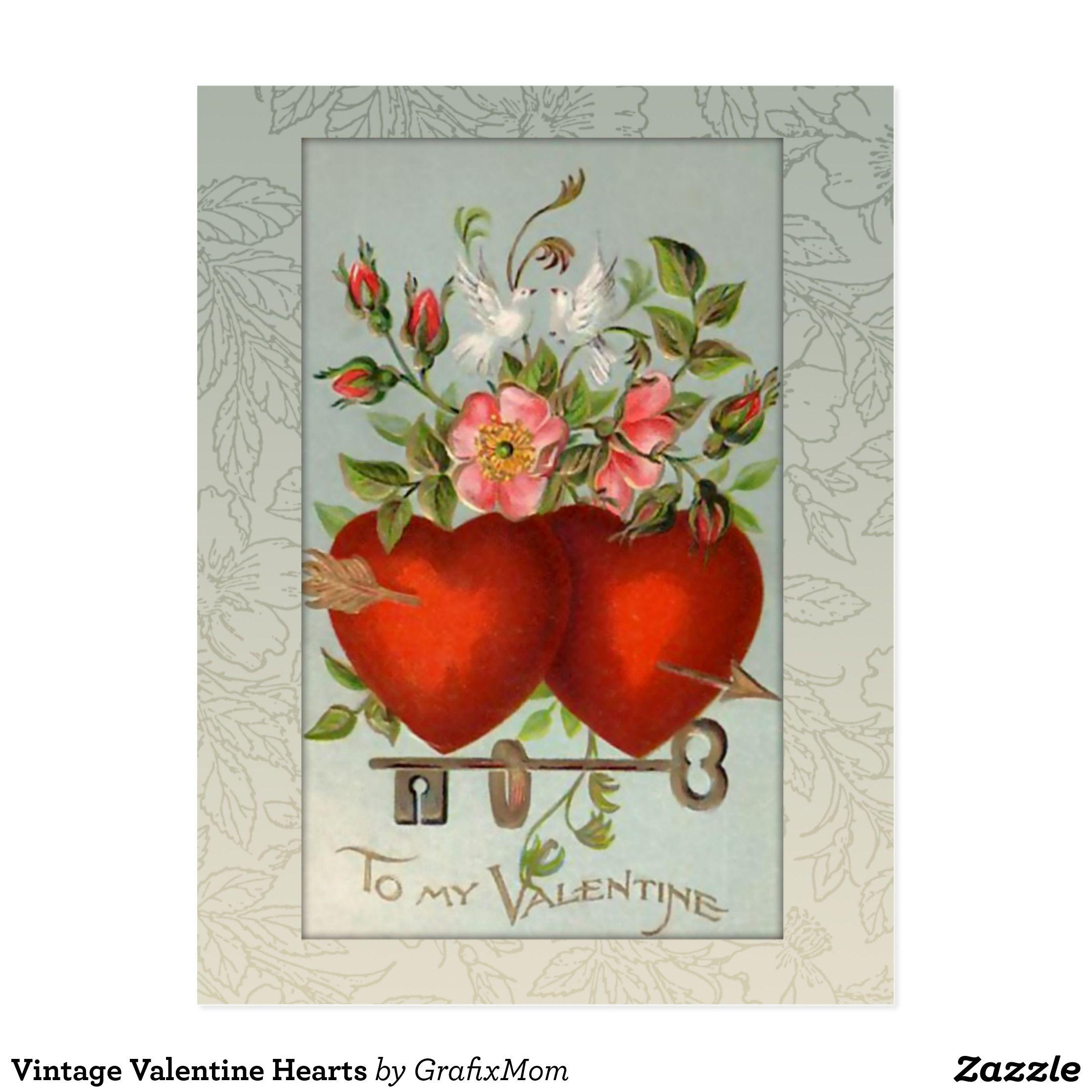 Vintage Valentine Hearts Holiday Postcard