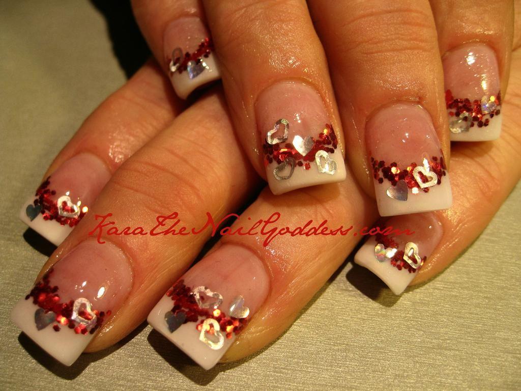 valentine Glitter Acrylic Nail Designs | Valentines Day from Kara ...