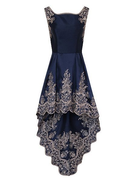 Floral embroidered dip hem dress