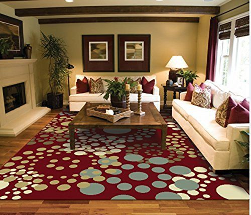 Luxury Modern Rugs Circles Cream Red Blue Beige Contemporary For Living Room 2x3 Carpet