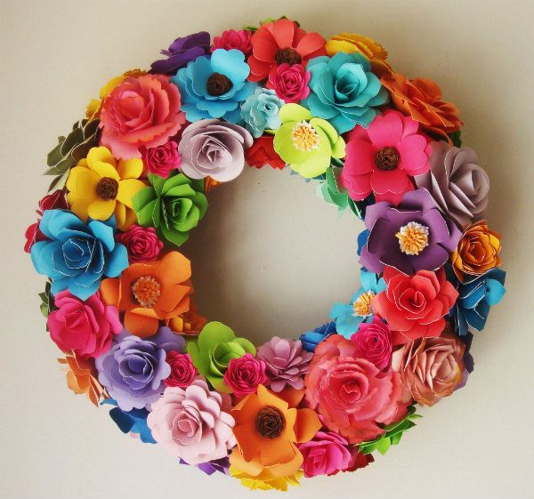 Paper flower wreath enter your best craft for a chance to win 1000 paper flower spring summer 12 to 13 inch wreath assorted paper roses great birthday gift custom order mightylinksfo