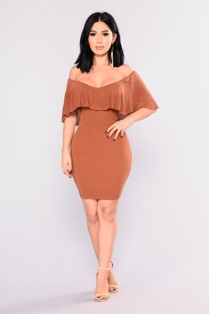 3802a6113caf Secret Story Off Shoulder Dress - Rust in 2019 | Janet Guzman ...