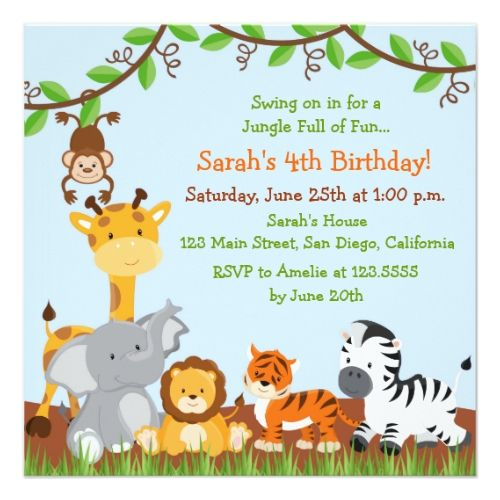 Cute safari jungle birthday party invitations party invitations cute safari jungle birthday party invitations filmwisefo