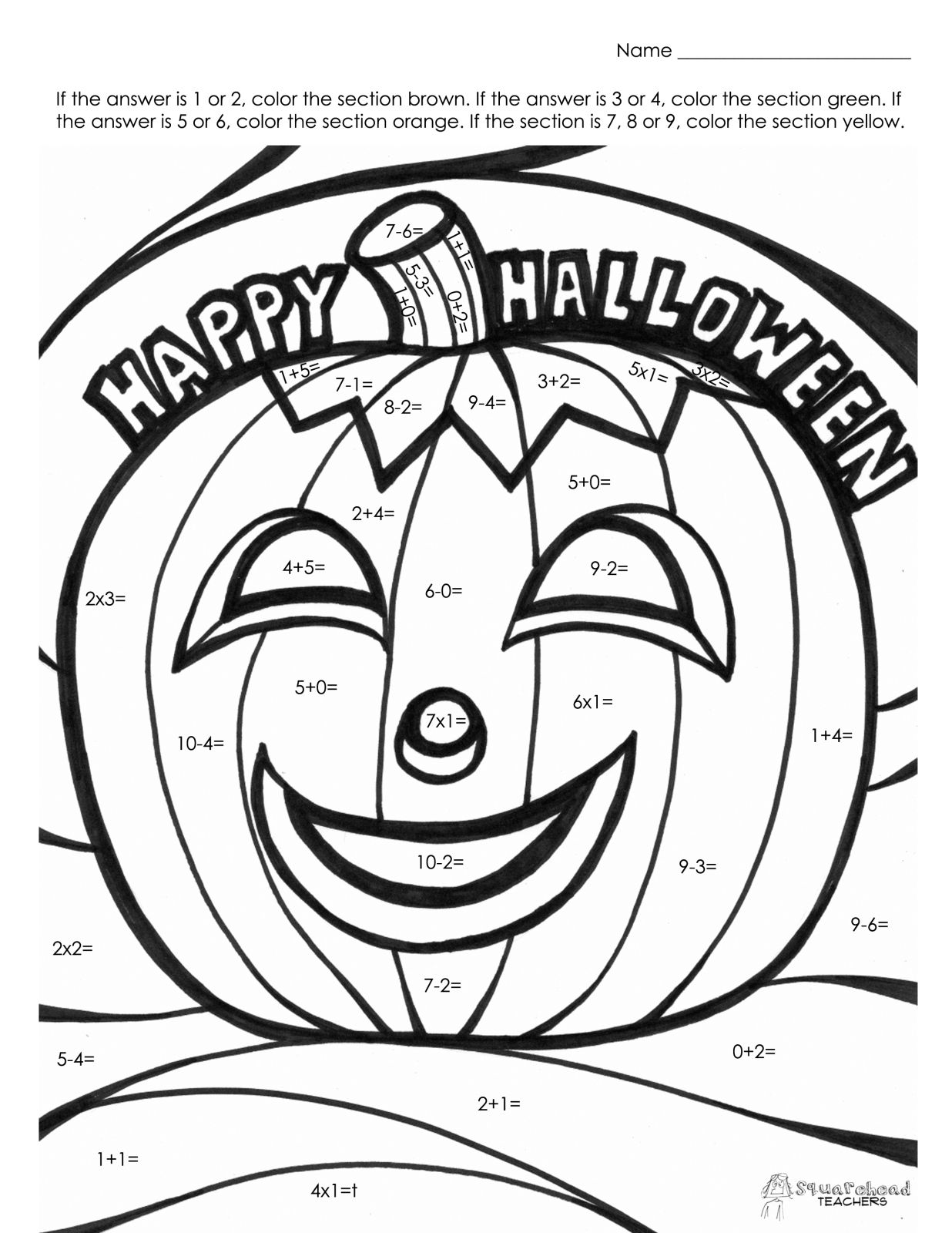 Halloween Math Fact Coloring Page Life Skills Ideas Pinterest