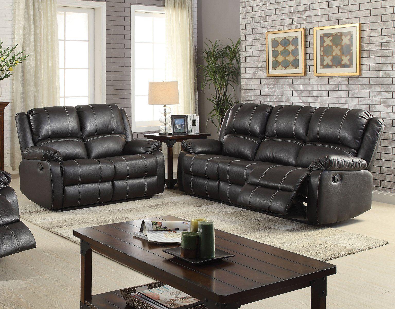 acme zuriel black finish pu leather reclining sofa set