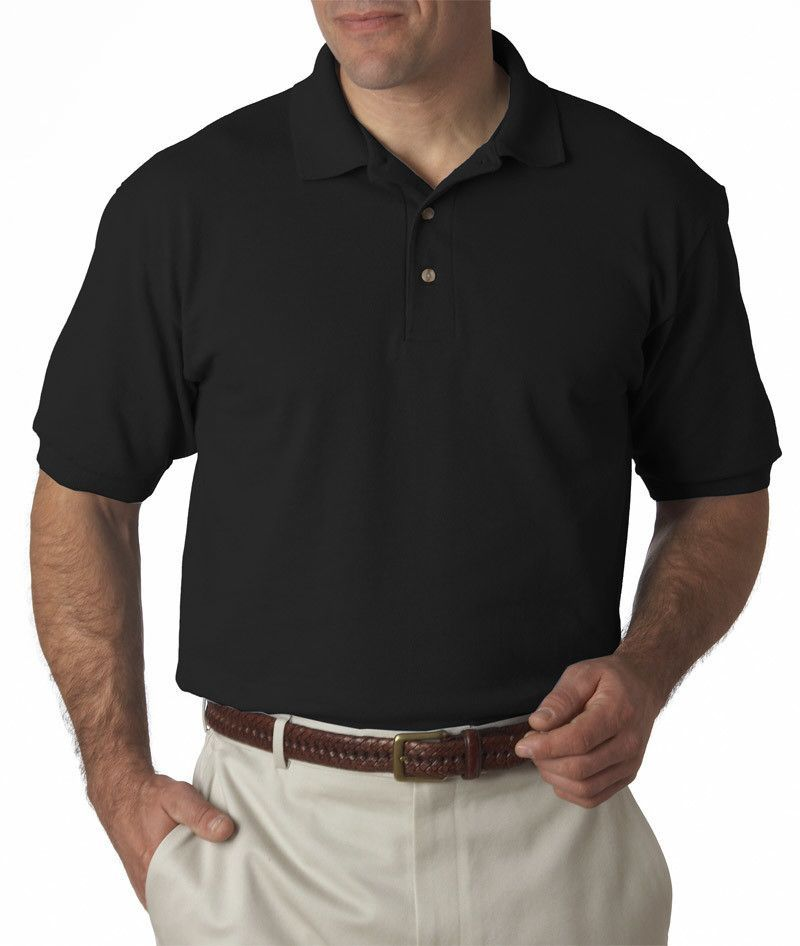 hanes adult comfortsoft(R) pique polo - black (l)